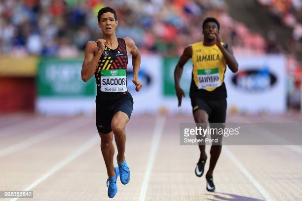 Jonathan Sacoor of Belgium and Chantz Sawyers of Jamaica race for the line during the final of the men's 400m on day five of The IAAF World U20...