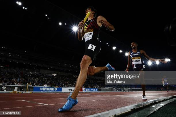 Jonathan Sacoor of Belgium competes during round 1 of the Men's 4x400m Relay on day one of the IAAF World Relays at Nissan Stadium on May 11 2019 in...