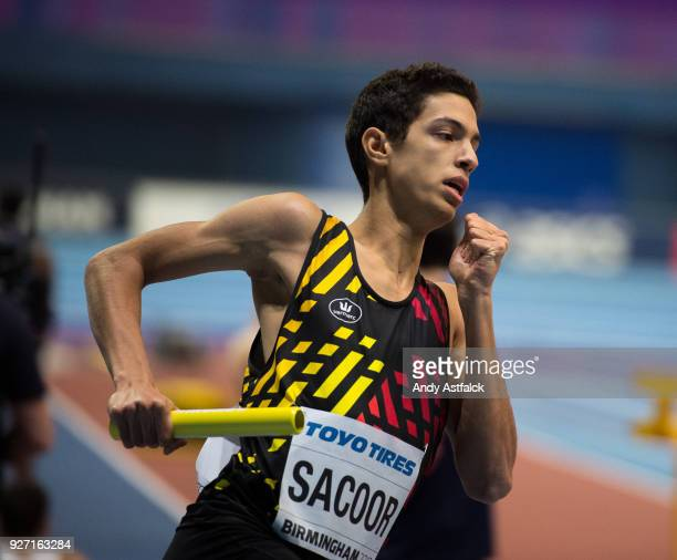 Jonathan Sacoor of Belgium during the Men's 4x400m Final on Day 4 of the IAAF World Indoor Championships at Arena Birmingham on March 4 2018 in...