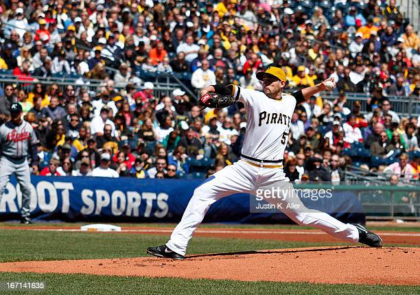 Jonathan Sanchez of the Pittsburgh Pirates pitches in the first inning against the Atlanta Braves during the game on April 21 2013 at PNC Park in...