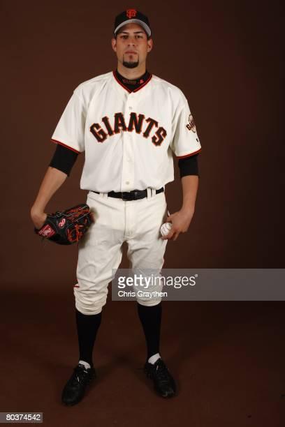 Jonathan Sanchez of the San Francisco Giants poses for a photo during Spring Training Photo Day at Scottsdale Stadium in Scottsdale Arizona