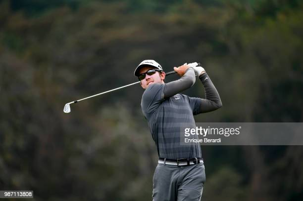 Jonathan Sanders of the United States hits a tee shot on the ninth hole during the first round of the PGA TOUR Latinoamérica Guatemala Stella Artois...
