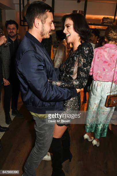 Jonathan Saunders and Eliza Cummings arrive as Topshop and Leandra Medine host dinner to celebrate London Fashion Week on February 19 2017 in London...
