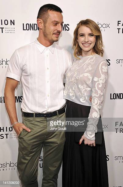 Jonathan Saunders and Emma Roberts attend the British Fashion Council's LONDON Show ROOMS LA opening cocktail party at Smashbox Studios on March 12...