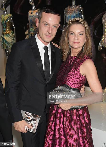 Jonathan Saunders and Natalie Massenet attend the Alexander McQueen Savage Beauty Fashion Gala at the VA presented by American Express and Kering on...