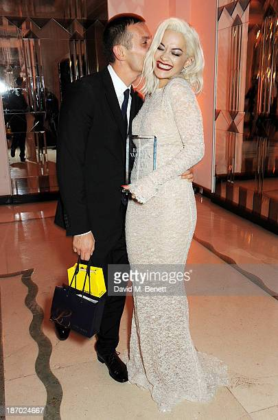 Jonathan Saunders and Rita Ora, winner of the Musician of the Year award, attend the Harper's Bazaar Women of the Year awards at Claridge's Hotel on...