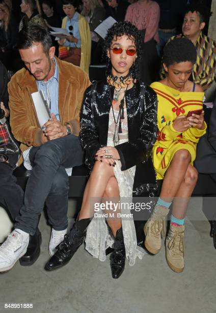 Jonathan Saunders FKA Twigs and Selah Marley attend the Christopher Kane SS18 catwalk show during London Fashion Week September 2017 at The Tanks at...