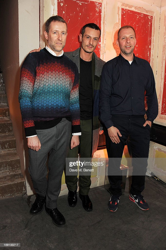 Jonathan Saunders (C) poses with Fantastic Man editors Gert Jonkers and Jop van Bennekom at the Jonathan Saunders, Fantastic Man and Selfridges London Collections: MEN AW13 dinner at The Old Selfridges Hotel on January 8, 2013 in London, England.