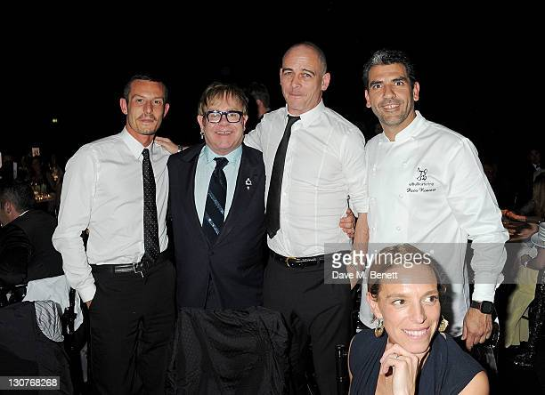 Jonathan Saunders, Sir Elton John, Dinos Chapman, chef Paco Roncero and Tiphaine de Lussy attend the Grey Goose Winter Ball to benefit the Elton John...