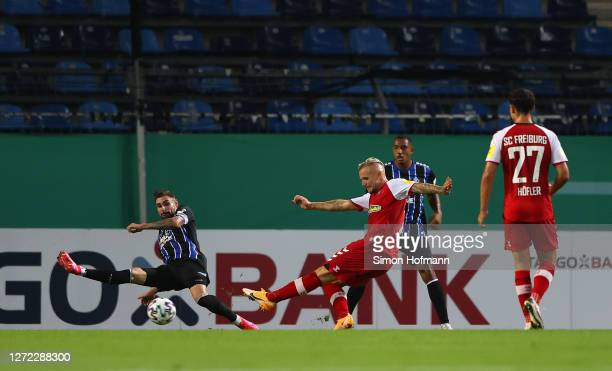 Jonathan Schmid of SC Freiburg scores his team's second goal during the DFB Cup first round match between SV Waldhof Mannheim and Sport-Club Freiburg...
