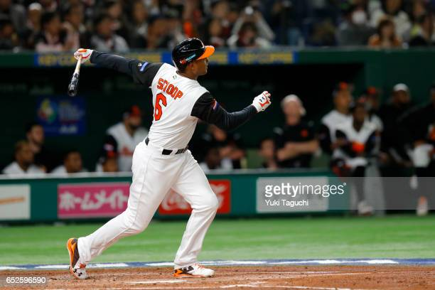 Jonathan Schoop of Team Netherlands hits a solo home run in the second inning during Game 2 of Pool E of the 2017 World Baseball Classic against Team...