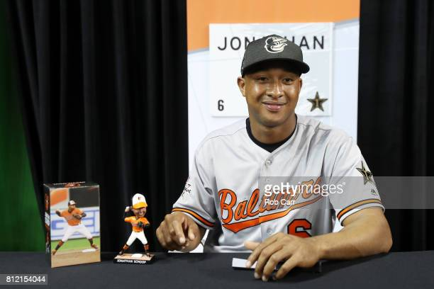 Jonathan Schoop of the Baltimore Orioles and the American League speaks with the media during Gatorade AllStar Workout Day ahead of the 88th MLB...