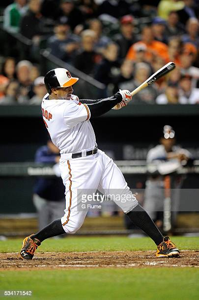 Jonathan Schoop of the Baltimore Orioles bats against the Detroit Tigers at Oriole Park at Camden Yards on May 12 2016 in Baltimore Maryland
