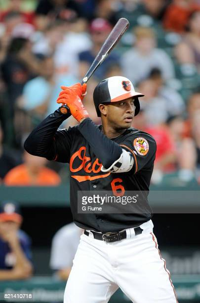 Jonathan Schoop of the Baltimore Orioles bats against the Houston Astros at Oriole Park at Camden Yards on July 21 2017 in Baltimore Maryland