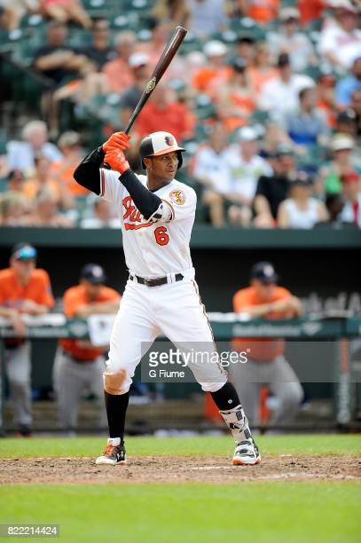 Jonathan Schoop of the Baltimore Orioles bats against the Houston Astros at Oriole Park at Camden Yards on July 23 2017 in Baltimore Maryland...