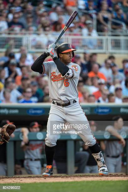Jonathan Schoop of the Baltimore Orioles bats against the Minnesota Twins on July 6 2017 at Target Field in Minneapolis Minnesota The Twins defeated...