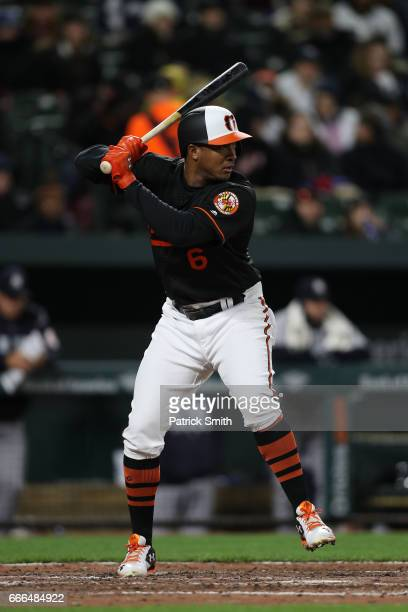 Jonathan Schoop of the Baltimore Orioles bats against the New York Yankees at Oriole Park at Camden Yards on April 7 2017 in Baltimore Maryland
