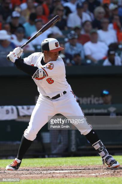Jonathan Schoop of the Baltimore Orioles bats against the New York Yankees at Oriole Park at Camden Yards on September 4 2017 in Baltimore Maryland