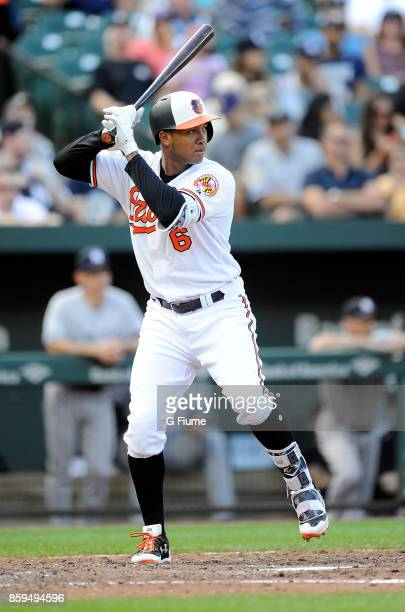 Jonathan Schoop of the Baltimore Orioles bats against the New York Yankees at Oriole Park at Camden Yards on September 7 2017 in Baltimore Maryland