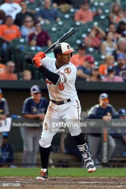 Jonathan Schoop of the Baltimore Orioles bats against the Tampa Bay Rays at Oriole Park at Camden Yards on September 24 2017 in Baltimore Maryland