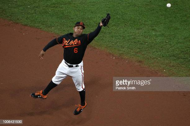 Jonathan Schoop of the Baltimore Orioles cannot make a catch against the Tampa Bay Rays during the seventh inning at Oriole Park at Camden Yards on...