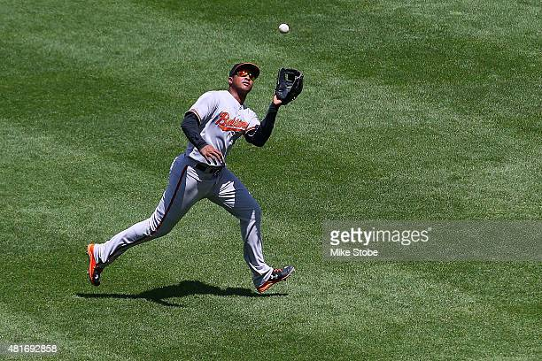 Jonathan Schoop of the Baltimore Orioles catches a pop fly off the bat of Alex Rodriguez of the New York Yankees in the fourth inning at Yankee...