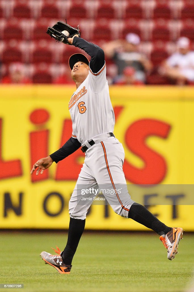 Jonathan Schoop #6 of the Baltimore Orioles catches a short fly ball off the bat of Billy Hamilton #6 of the Cincinnati Reds in the sixth inning at Great American Ball Park on April 20, 2017 in Cincinnati, Ohio. Baltimore defeated Cincinnati 2-1 in 10 innings.