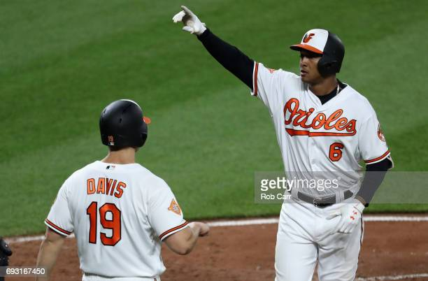 Jonathan Schoop of the Baltimore Orioles celebrates after hitting a two run home run in the ninth inning against the Pittsburgh Pirates at Oriole...