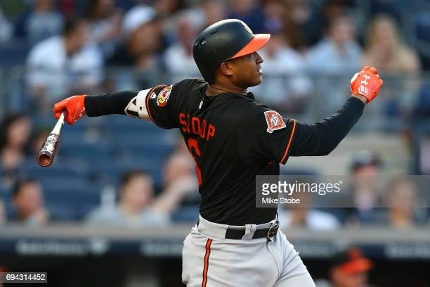 Jonathan Schoop of the Baltimore Orioles connects on a 2run home run in the second inning against the New York Yankees at Yankee Stadium on June 9...