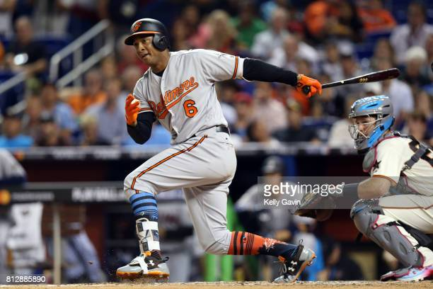 Jonathan Schoop of the Baltimore Orioles doubles during the 88th MLB AllStar Game at Marlins Park on Tuesday July 11 2017 in Miami Florida