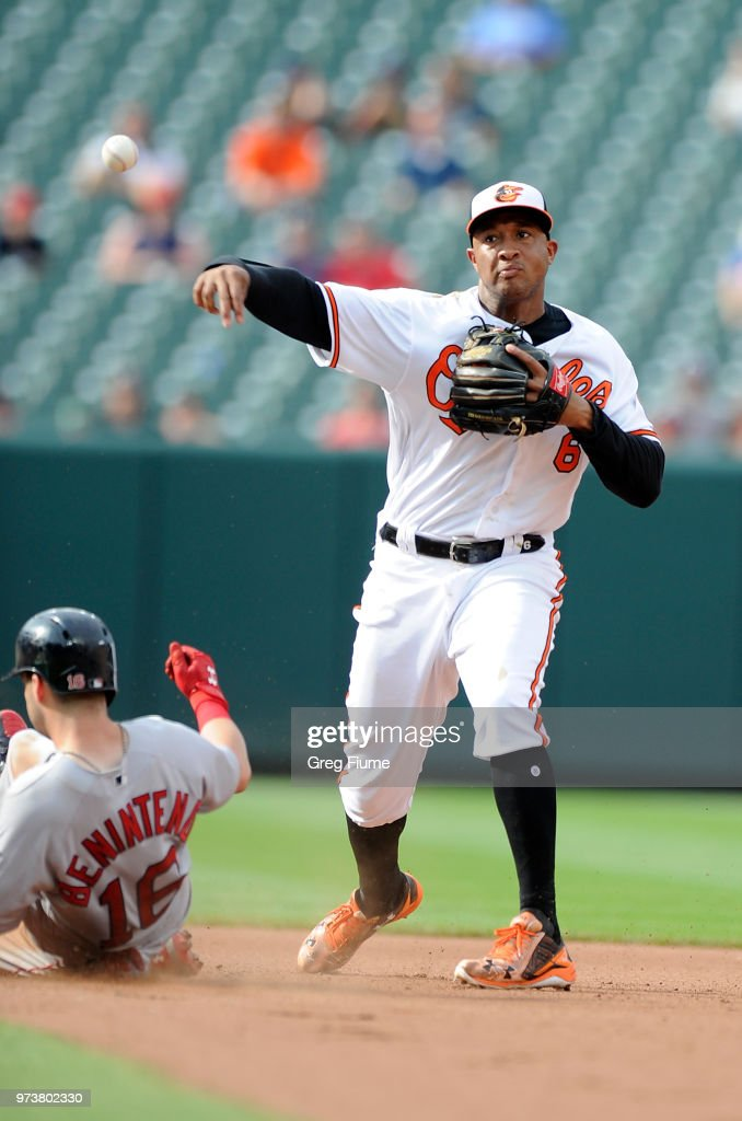 Jonathan Schoop #6 of the Baltimore Orioles forces out Andrew Benintendi #16 of the Boston Red Sox to start a double play in the seventh inning at Oriole Park at Camden Yards on June 13, 2018 in Baltimore, Maryland.