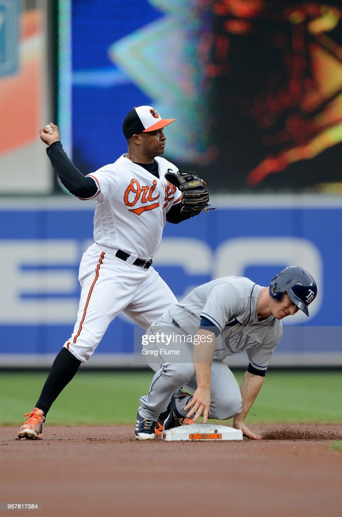 Jonathan Schoop #6 of the Baltimore Orioles forces out Joey Wendle #18 of the Tampa Bay Rays to start a double play in the first inning during the second game of a doubleheader at Oriole Park at Camden Yards on May 12, 2018 in Baltimore, Maryland.