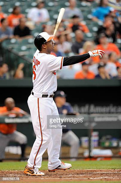 Jonathan Schoop of the Baltimore Orioles hits a home run in the fourth inning against the Houston Astros at Oriole Park at Camden Yards on August 21...