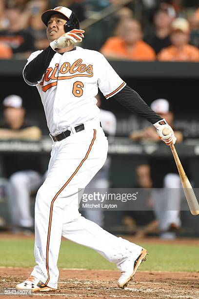Jonathan Schoop of the Baltimore Orioles hits a solo home run in the third inning during a baseball game against the Washington Nationals at Oriole...