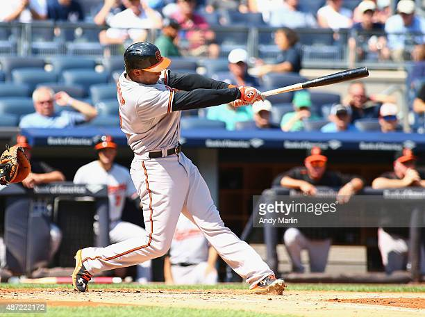 Jonathan Schoop of the Baltimore Orioles hits a three run home run in the second inning against the New York Yankees at Yankee Stadium on September 7...