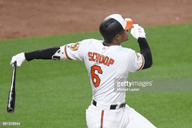 Jonathan Schoop of the Baltimore Orioles hits a three run home run in the sixth inning during a baseball game against the Boston Red Sox at Oriole...