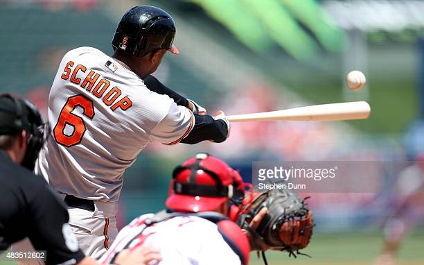 Jonathan Schoop of the Baltimore Orioles hits an RBI double in the first inning against the Los Angeles Angels of Anaheim at Angel Stadium of Anaheim...