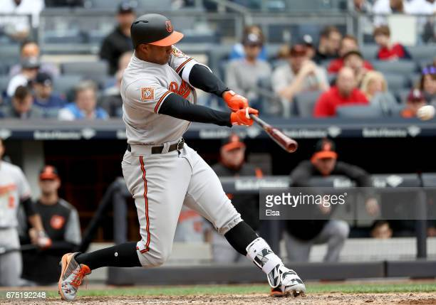 Jonathan Schoop of the Baltimore Orioles hits an RBI double in the sixth inning against the New York Yankees on April 30 2017 at Yankee Stadium in...