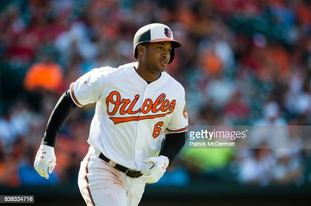 Jonathan Schoop of the Baltimore Orioles in action against the Los Angeles Angels of Anaheim in the eighth inning at Oriole Park at Camden Yards on...
