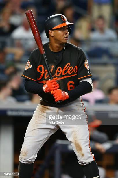 Jonathan Schoop of the Baltimore Orioles in action against the New York Yankees at Yankee Stadium on June 10 2017 in the Bronx borough of New York...