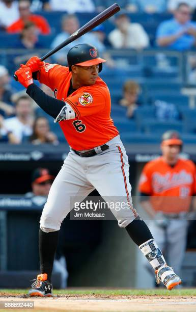 Jonathan Schoop of the Baltimore Orioles in action against the New York Yankees at Yankee Stadium on September 16 2017 in the Bronx borough of New...