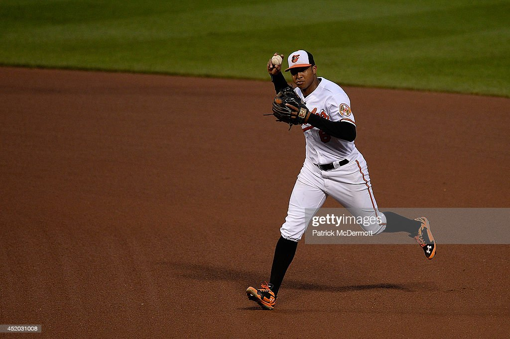 Jonathan Schoop #6 of the Baltimore Orioles in action during a game against the Washington Nationals at Oriole Park at Camden Yards on July 10, 2014 in Baltimore, Maryland.