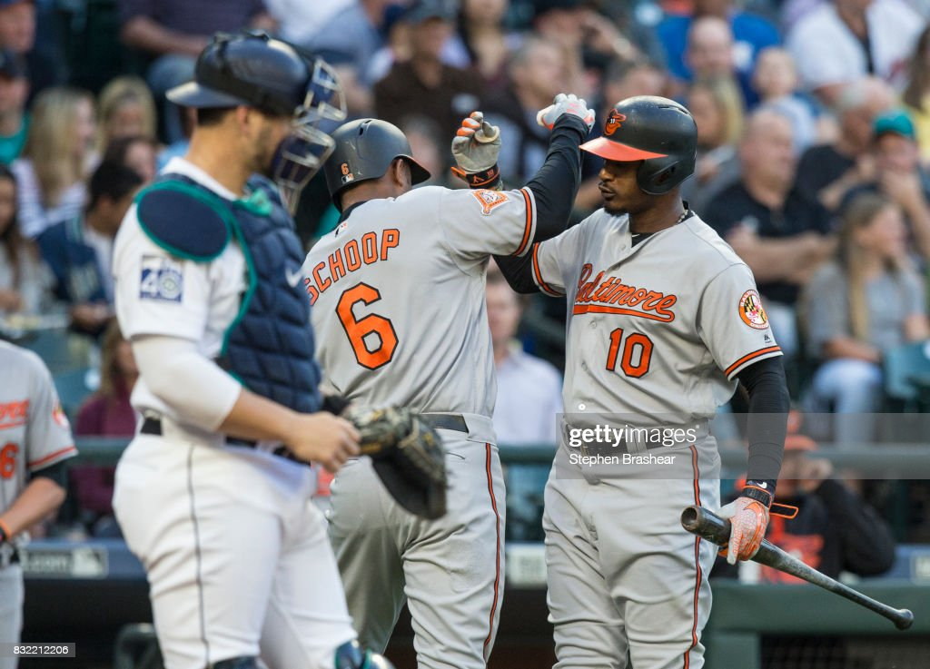 Jonathan Schoop #6 of the Baltimore Orioles is congratulated by Adam Jones #10 of the Baltimore Orioles after hitting a solo home run off of starting pitcher Andrew Albers #63 of the Seattle Mariners during the first inning of a game at Safeco Field on August 15, 2017 in Seattle, Washington.