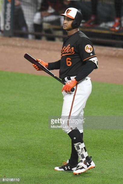 Jonathan Schoop of the Baltimore Orioles looks on during a baseball game against the Tampa Bay Rays at Oriole Park at Camden Yards on June 30 2017 in...