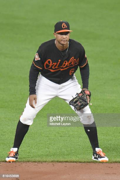 Jonathan Schoop of the Baltimore Orioles looks on during a baseball game against the Chicago Cubs at Oriole Park at Camdens Yards on July 14 2017 in...