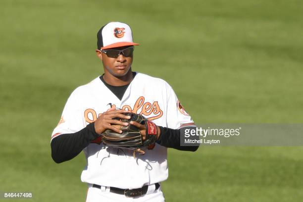 Jonathan Schoop of the Baltimore Orioles looks on during a baseball game against the New York Yankees at Oriole Park at Camden Yards on September 4...
