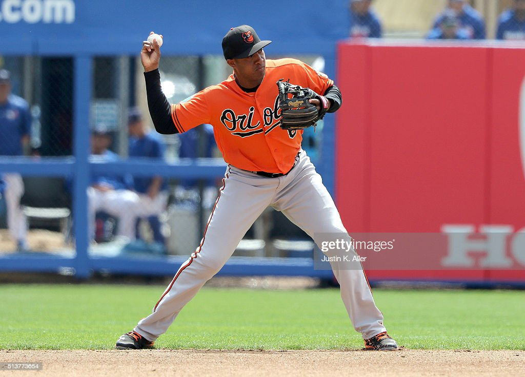 Jonathan Schoop #6 of the Baltimore Orioles makes a play to first base during the game against the Toronto Blue Jays at Florida Auto Exchange Stadium on March 4, 2016 in Dunedin, Florida.