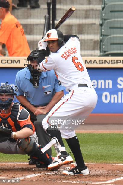 Jonathan Schoop of the Baltimore Orioles prepares for a pitch during a baseball game against the Houston Astros at Oriole Park at Camden Yards on...