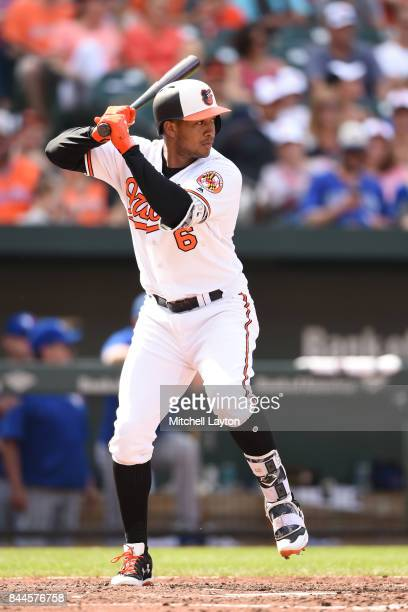 Jonathan Schoop of the Baltimore Orioles prepares for a pitch during a baseball game against the Toronto Blue Jays at Oriole Park at Camden Yards on...