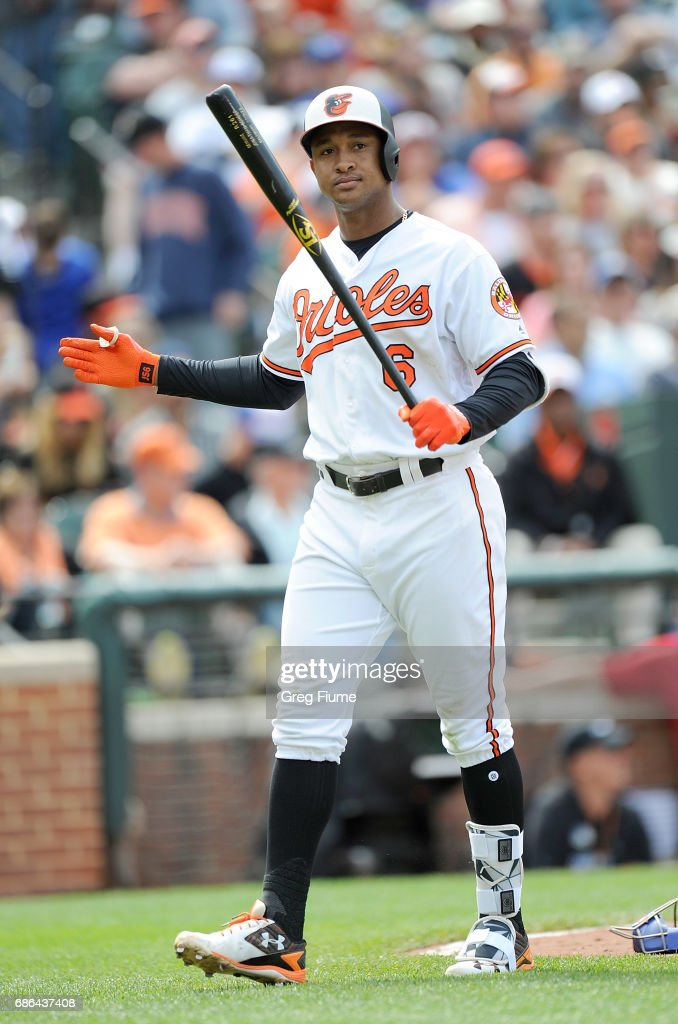 Jonathan Schoop #6 of the Baltimore Orioles reacts after fouling out in the eighth inning against the Toronto Blue Jays at Oriole Park at Camden Yards on May 21, 2017 in Baltimore, Maryland.